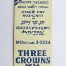 Three Crowns - Montclair, New Jersey Restaurant Bar 20 Strike Matchbook Cover NJ