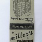 Miller's Restaurant Indianapolis, Indiana ISTA Building 20Strike Matchbook Cover