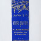 South Boston, Massachusetts US Naval Drydock 20 Strike Military Matchbook Cover