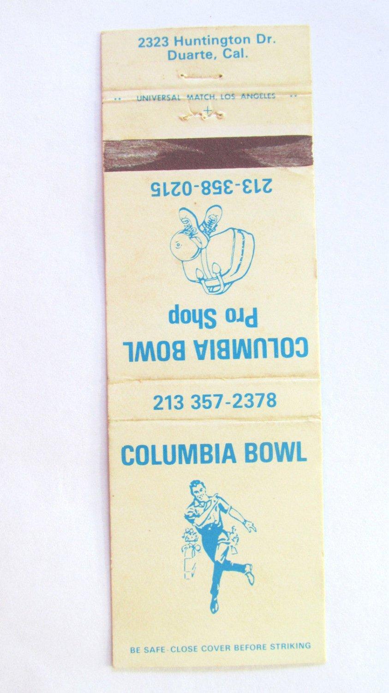 Columbia Bowl - Duarte, California Bowling Sports 20 Strike Matchbook Cover CA