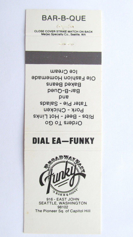 Funky - Bar-B-Que Restaurant - Seattle, Washington 20 Strike Matchbook Cover WA