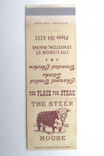 The Steer House Lewiston, Maine Restaurant 20 Strike Matchbook Cover ...