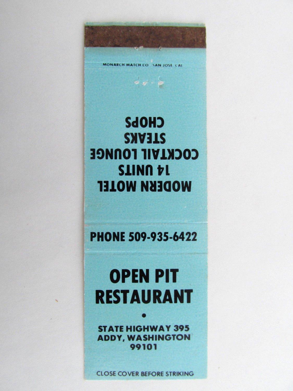 Open Pit Restaurant - Addy, Washington 20 Strike Matchbook Cover Motel Lounge WA