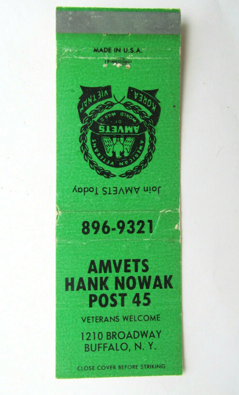 AMVETS Hank Nowak Post 45 Buffalo, New York 20 Strike Veterans Matchbook Cover