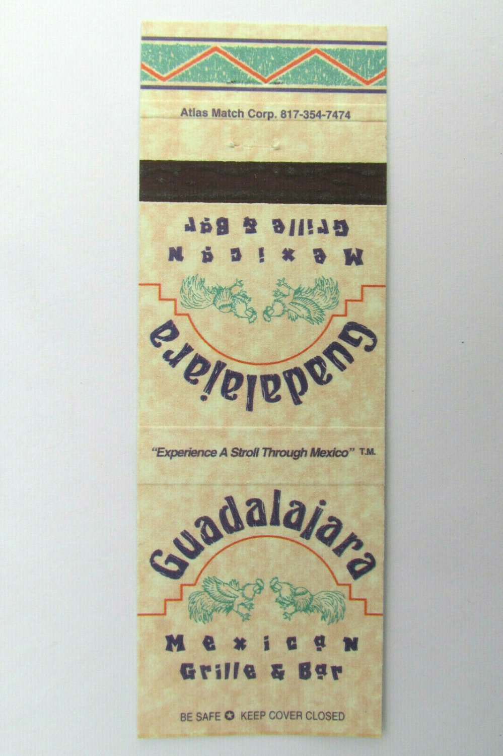 Guadalajara Mexican Grille & Bar  Houston, Texas Restaurant 20RS Matchbook Cover