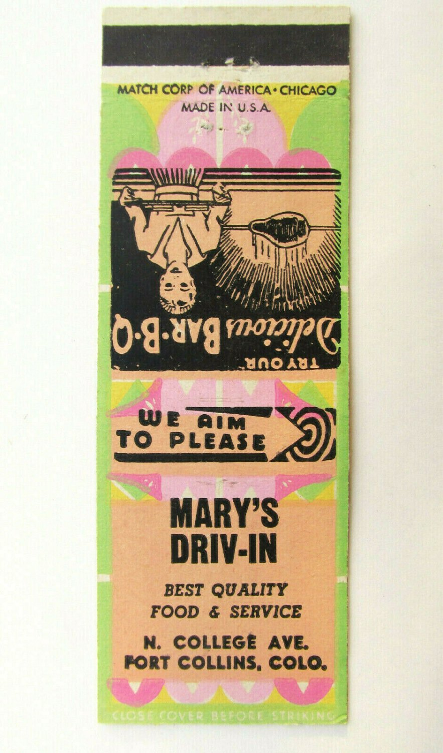 Mary's Driv-In - Fort Collins, Colorado Restaurant 20 Strike Matchbook Cover CO