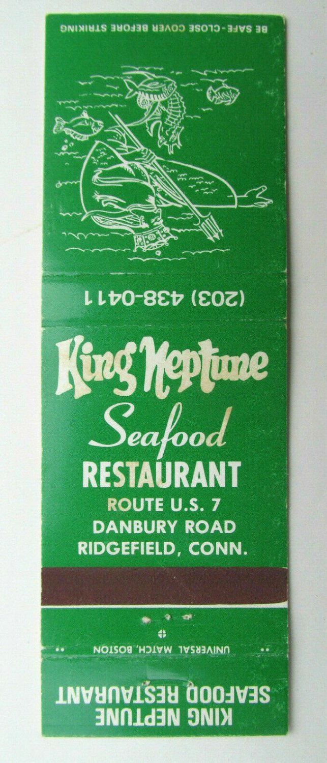 King Neptune Seafood Restaurant - Ridgefield, Connecticut 20RS Matchbook Cover