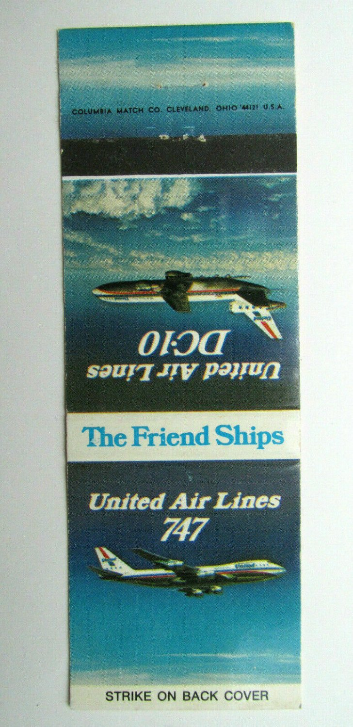 United Air Lines DC-10 & 747 Friend Ships 20 Strike Aviation Matchbook Cover Jet
