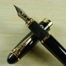 Jinhao X450 Black Fountain Pen Medium 18KGP Nib Chinese Black Lacquer U143