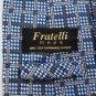 FRATELLI ITALY BLUE BEIGE CHECKER WOVEN Neck Tie Men Designer Tie EUC