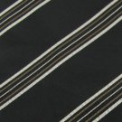 #1A STAFFORD EXECUTIVE ITALY STRIPE BLACK SILVER BROWN  Men Neck Tie Necktie