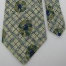 #1A STRUCTURE USA FLORAL CHECKER OLIVE NAVY GREY  Silk Men Neck Tie Necktie