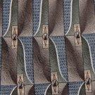 HAGGAR BROWN GREEN BLUE WHITE SILK NECK TIE EUCMen Designer Tie EUC