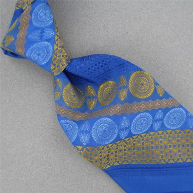 VINTAGE GOLDEN CLASP SKYBLUE STRIPE CIRCLE TEXTURE GLOSS WIDE 60s Neck Tie #V-3