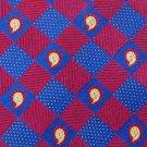 #1A NAUTICA WOVEN THICK CHECKERED RED BLUE SILK NECK TIE  CRAVATE Cravatta