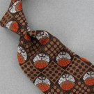 VINTAGE CHRISTIAN DIOR BROWN GEOMETRIC CIRCLE TEXTURE FAT 60s 70s Neck Tie #V-3