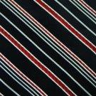 #1A STAFFORD WOVEN STRIPE BLACK RED WHITE SILK MEN NECK TIE Krawatte Cravat