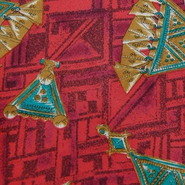 ANDRIANO RED GREEN YELLOW TRIANGLES SILK Neck Tie Men Designer Tie EUC