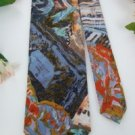 #1A ITALIAN BLUE ORANGE GREEN FLORAL NARROW Men Neck Tie