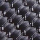 SETAZONE WAVES CIRCLES BLACK GREY SILK MEN NECK TIE Men Designer Tie EUC
