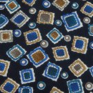 GROFFREY BEENE SQUARES CIRCLES BLACK BLUE Men Neck Tie Men Designer Tie EUC