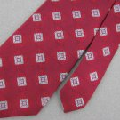 Jos A Bank Geometric Red Silk Dress Woven Red Neck Tie Men Designer Tie EUC