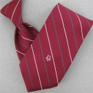 VTG CHRISTIAN DIOR RED STRIPE NARROW LOGO 1960 60s 70s Mens Neck Tie #V-1 EVC