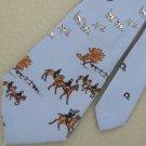 Vtg Rare Royal Knight English Horse Rider Dogs Sky/Blue Narrow 70s Neck Tie #VE