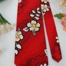 PACIFIC LEGEND RED WHITE FLORAL COTTON Neck Tie Men Designer Tie EUC