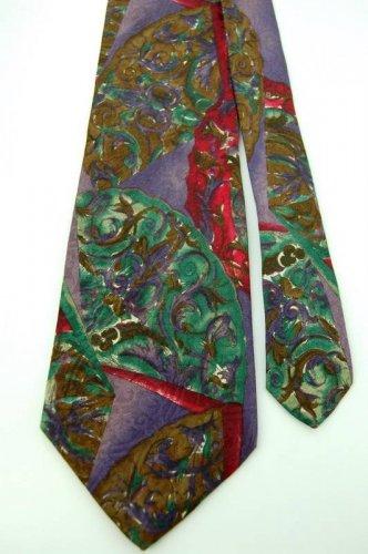 STANLEY BLACKER ABSTRACT PURPLE RED BROWN MEN NECK TIE Men Designer Tie EUC