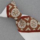 Vtg Redi Ties Brn Wht Stripe Geomatric Snap On Clip-On 60s 70s Men Neck Tie #V-4