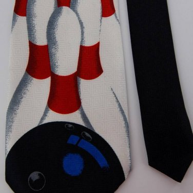 New A. ROGERS BOWELING PINS RED POLYESTER MEN NECK TIE Men Designer Tie EUC