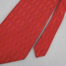 Geoffrey Beene Geometric Orange Silk Dress Woven Neck Tie Men Designer Tie EUC