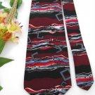 NWT J T  BECKETT STRIPE SQAURES RED MAROON BLACK Neck Tie Men Designer Tie EUC