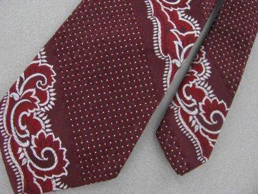 Vintage Wemlon Wembley Maroon Floral Texture 60's 70's 1970 Men's Neck Tie  #EV