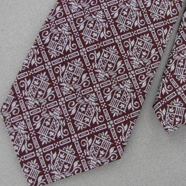 Vtg Regalon Wide Fat Texture 60's 70's 1970 Shield Maroon Men's Neck Tie #VE