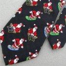 #1A New Christmas Santa Snow Holiday Skate Board Ornament Boy's Silk Neck Tie