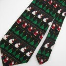 New Holiday Tradtions Christmas Santa Snow Man Tree Ornament Black Neck Tie 7614
