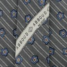JOSEPH ABBOUD FLOWER STRIPE GRAY BLUE TAN Silk Men Neck Tie Men Designer Tie EUC