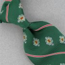 Vtg Monsieur Cravatieur Shield Stripe Fat Texture Green 60s 70s Neck Tie #V-4