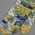 VINTAGE Rare  SEARS YELLOW GREEN LOCOMOTIVE ENGINE 1960 60s 70s Neck Tie #V-3