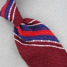 VINTAGE MITZI CRAVAT BLUE MAROON RED STRIPE THICK TEXTURE 60s Neck Tie #V-2