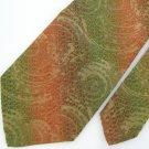 Vtg Rare Damon Art Nouveau Vivid Orange Olive Texture 60s 70s Mens Neck Tie #VE