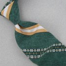 VINTAGE SANTAVELLI & WEMBLEY GREEN BROWN STRIPE FAT TEXTURE 60s Neck Tie #V-3