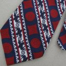 Vtg Rare Horse Riding Stripe Navy Red Wht Texture 60s Wide Fat Mens Neck Tie #VE