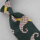 VINTAGE SEARS GREEN WHITE STRIPE PAISLEY FAT WIDE 60s 70s Mens Neck Tie #V-2 EVC