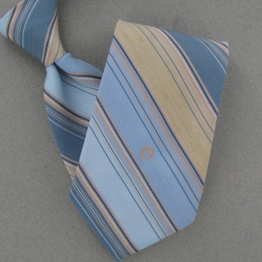 Vtg Rare Etienne Aigner Logo Narrow Stripe Sky Blue Tan 70s 60s Men Neck Tie VE1