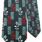 "59"" J Z RICHARDS BLACK RED WHITE FLORAL SILK Luxury Neck Tie Men Designer EUC"