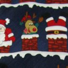 #1A New ADOLFO Christmas Santa Snow Holiday Reindeer NAVY RED GOLD  Necktie Tie