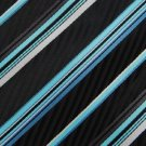 #1A New George Stripe Woven Black Sky Purple White Polyester MENS Tie NECKTIE